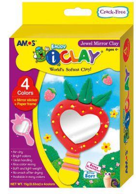 """МАССА iClay для лепки Amos """"ЗЕРКАЛЬЦЕ"""", 4 цвета по 15 гр., аксессуары."""