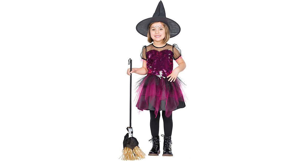 Kostüm Glitzer Hexe schwarz/pink Gr. 104 Mädchen Kleinkinder