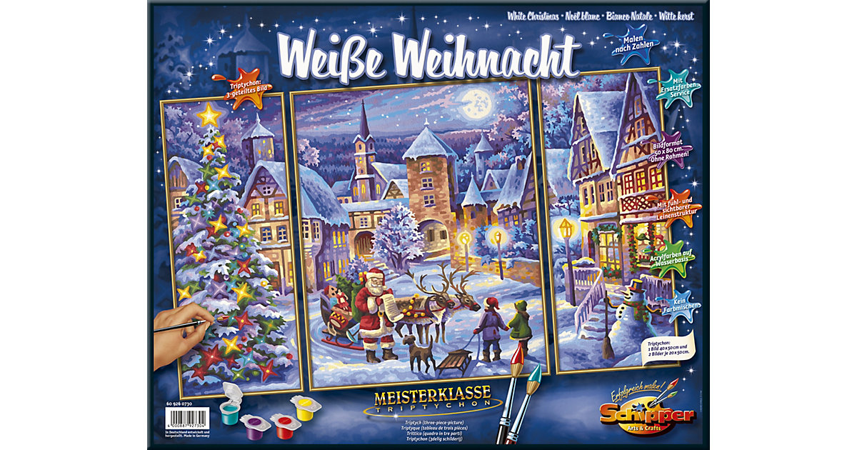 Malen nach Zahlen - Weiße Weihnacht Triptychon