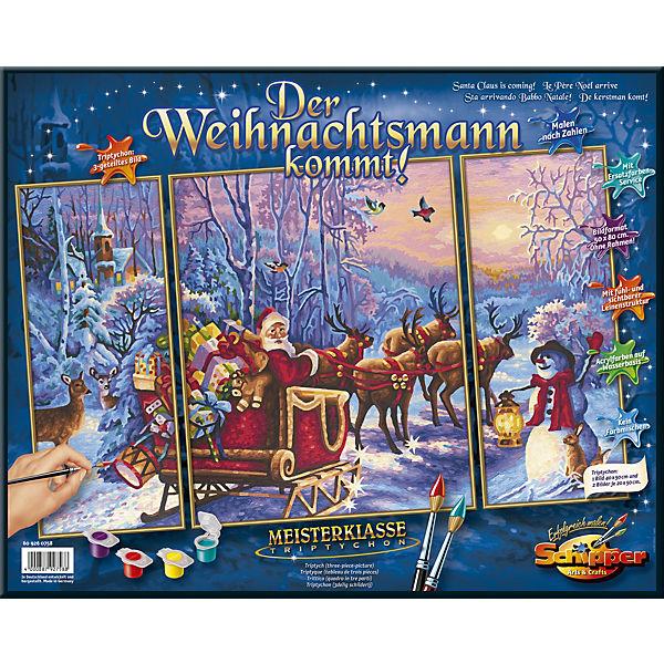 Malen Nach Zahlen Der Weihnachtsmann Kommt Triptychon Schipper