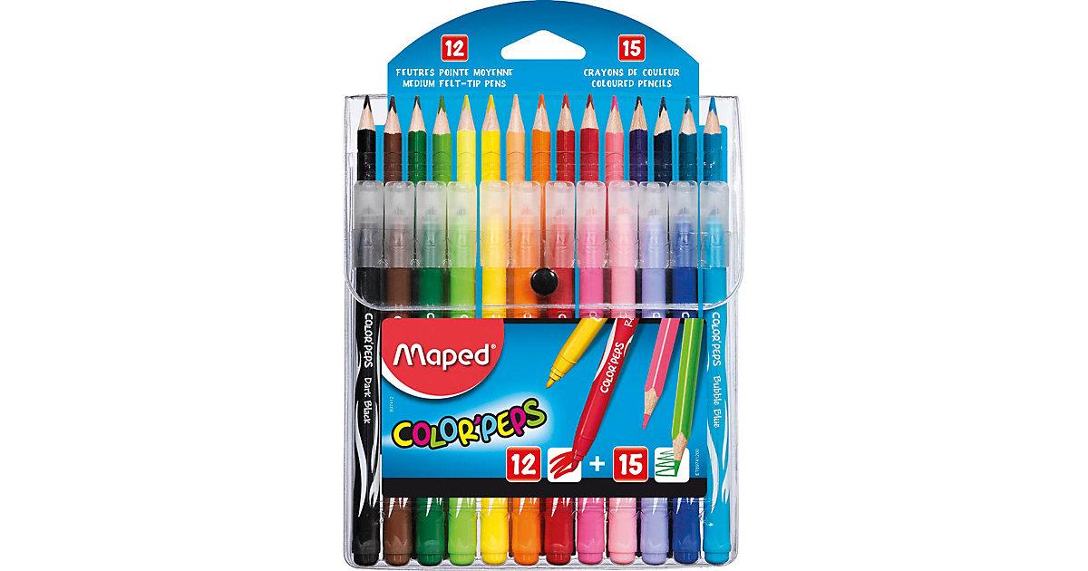Maped Filzstifte 12 Stück + 15 Buntstifte Color Peps