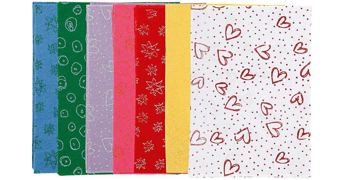 Bastelfilz - Sortiment, A4 21x30 cm, Stärke: 1 mm, 70 Bl., sortierte Farben