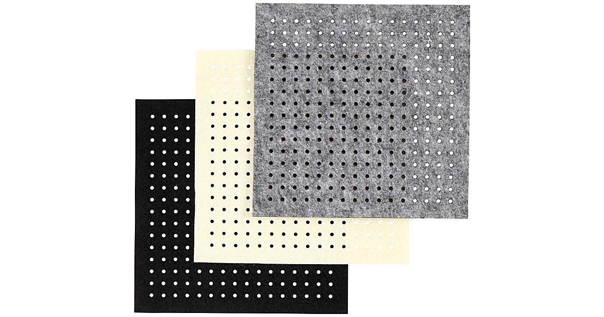 Bastel-Filz mit Löchern, Blatt 20x20 cm, Stärke: 3 mm, 12 Bl. sort., Grau, Off-w