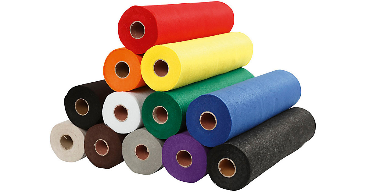 Bastelfilz, B 45 cm, Stärke: 1,5 mm, 12x5 m, Standard-Farben