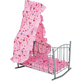 "Кроватка для кукол Buggy Boom ""Loona"" с балдахином, светло-розовая"