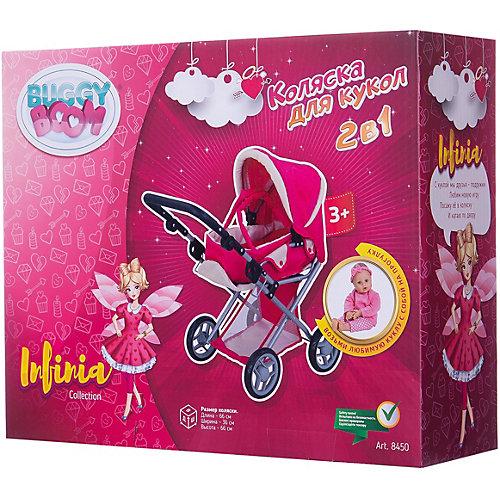 Коляска для кукол Buggy Boom Infinia трансформер, розово-черная в горошек от Buggy Boom