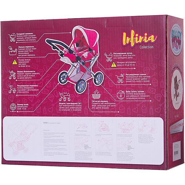 """Коляска для кукол Buggy Boom """"Infinia"""" трансформер, розово-черная в горошек"""