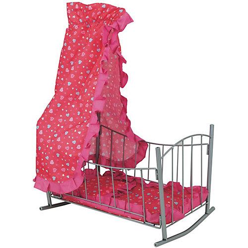 Кроватка для кукол Buggy Boom Loona с балдахином, розовая/коралл от Buggy Boom