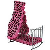 """Кроватка для кукол Buggy Boom """"Loona"""" с балдахином, розовая с черным"""