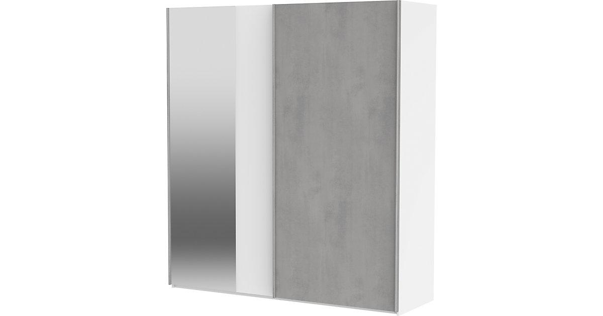 Schwebetürenschrank Concrete mit Spiegel, 2-türig, weiß / Beton, 200 cm