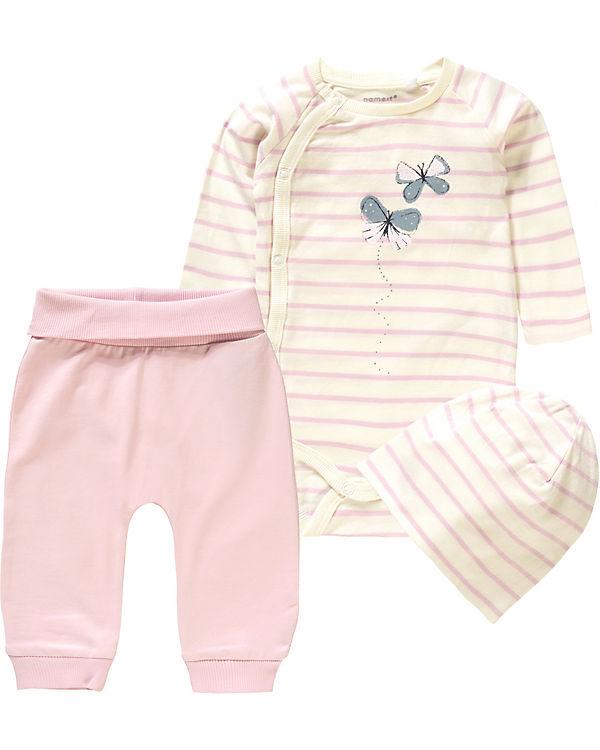 50% Preis Fang neuer Stil & Luxus Baby Set NBFLIVA Langarmshirt+Hose+Mütze für Mädchen, name it