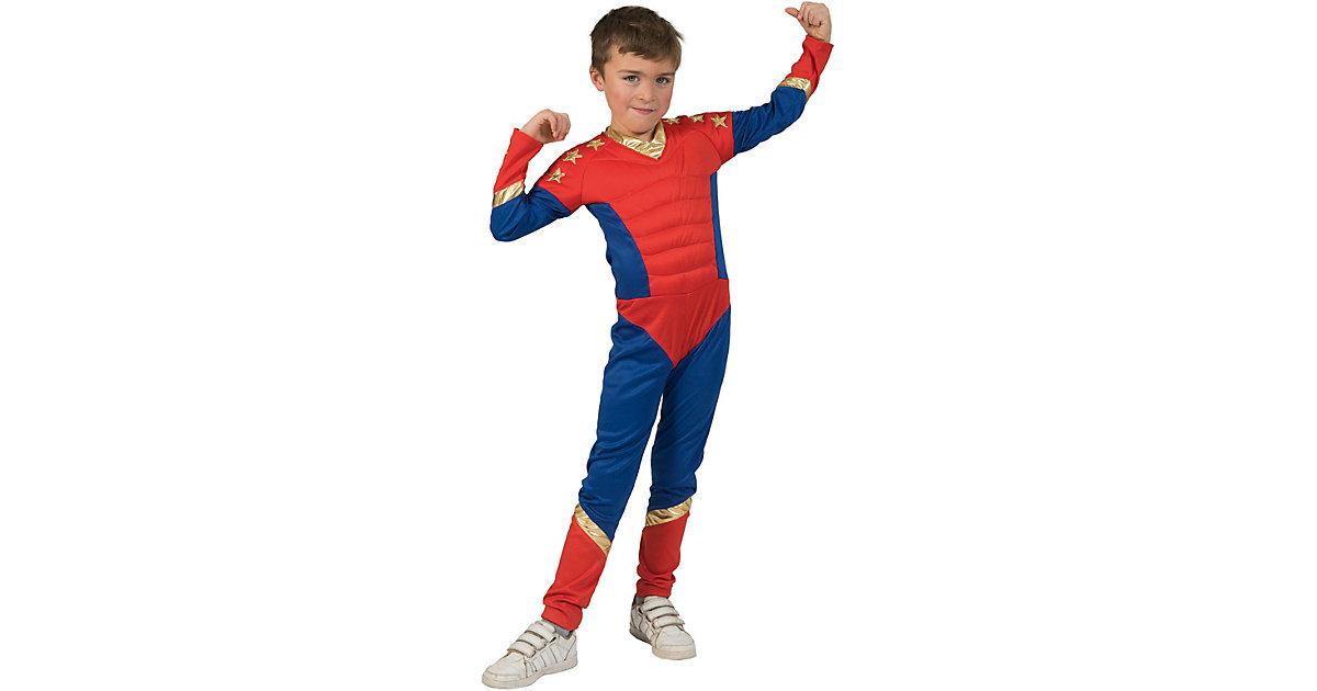 Jumpsuit Superheld blau/rot Gr. 116 Jungen Kinder