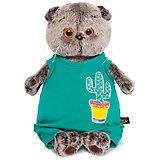 Мягкая игрушка Budi Basa Кот Басик в изумрудном комбинезоне с кактусом, 19 см