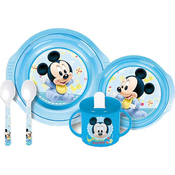 Baby-Geschirrset Mickey Mouse, 5-tlg., Disney Mickey Mouse & friends