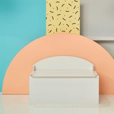 Spielzeug Truhe und Sitzbank de Luxe, 2 in 1, weiß lackiert