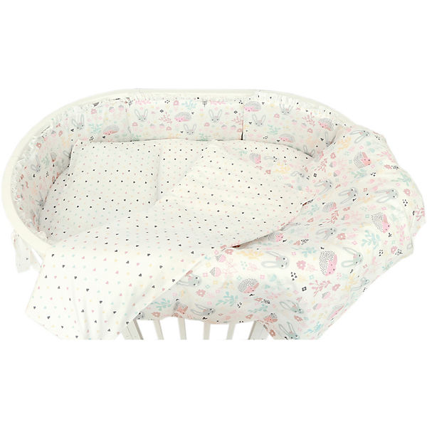 """Борт для овальной кроватки Baby Nice """"Лесная поляна"""" розовый"""