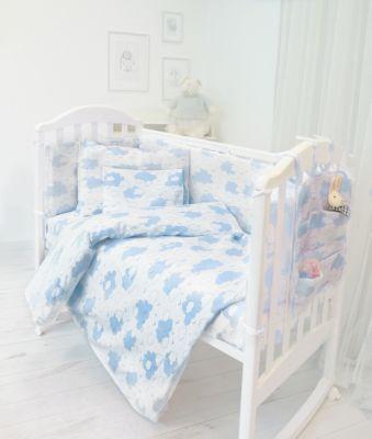 """Комплект в кроватку из 9 предметов Baby Nice """"Облака"""" голубой"""