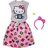"""Одежда для куклы Barbie """"Универсальный наряд коллаборации"""" Футболка и юбка Hello Kitty"""