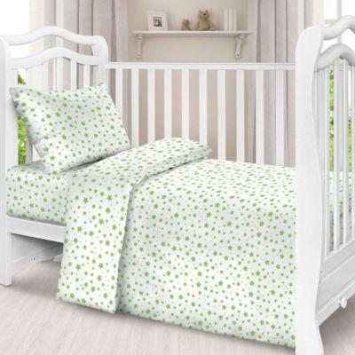 Детское постельное белье 1,5 сп Letto, Звезды, зеленый