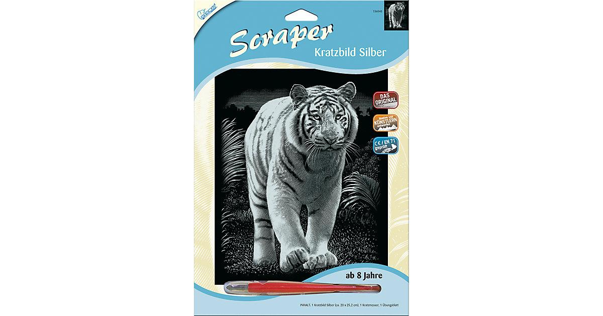 Kratzbild Scraper Tiger, silber