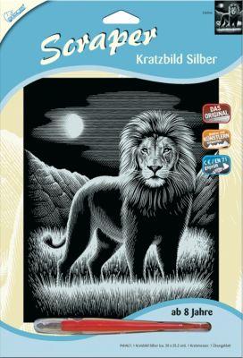 Löwe NEU Kratzbild Scraper Silber groß