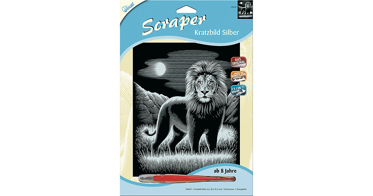 Kratzbild Scraper Löwe, silber