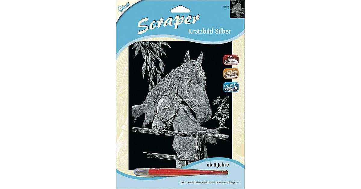 Scraper Silber groß - Pferd mit Fohlen