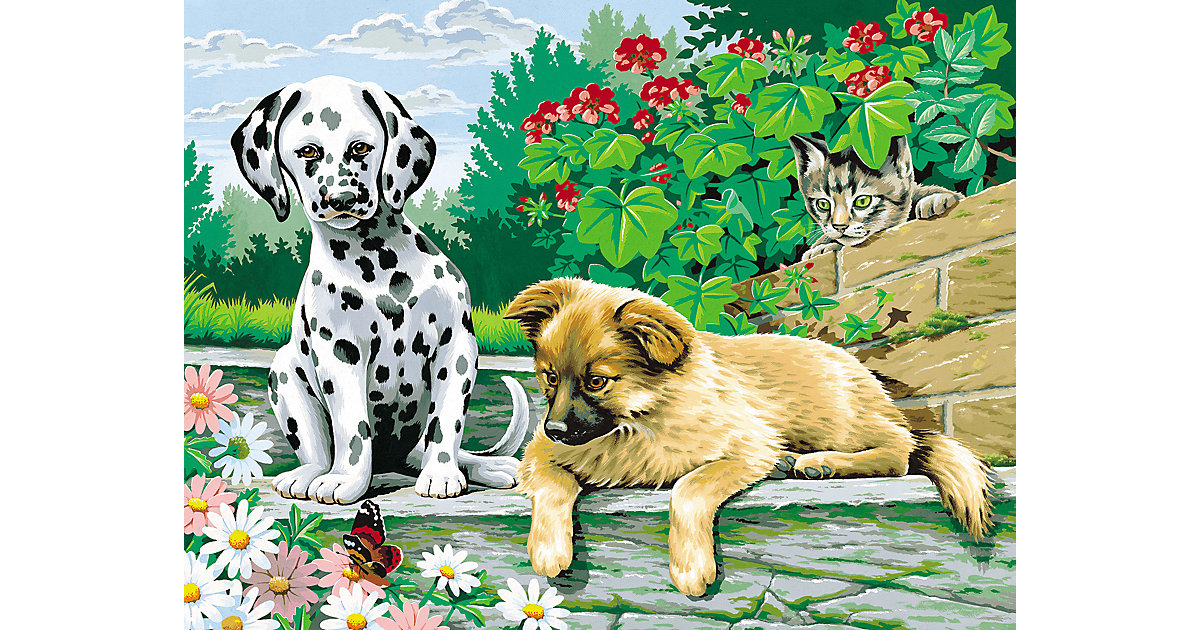 Malen nach Zahlen - Tierkinder im Garten