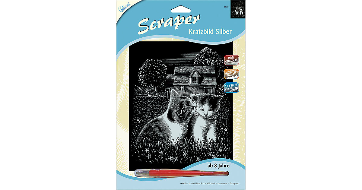 Scraper Silber groß - Spielende Katzen