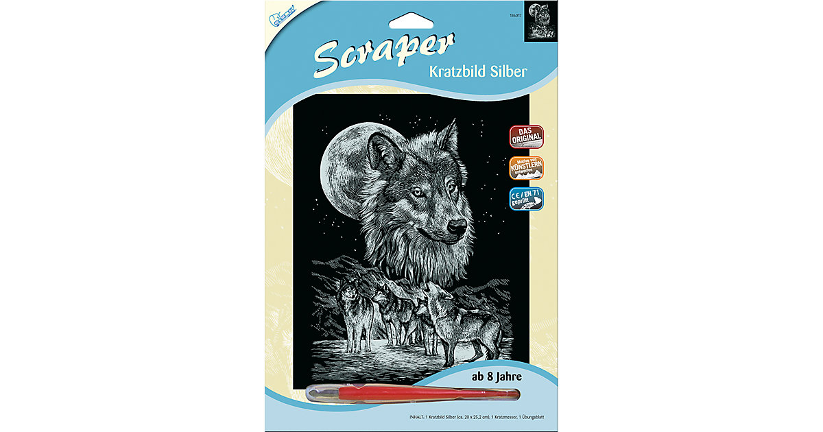 Kratzbild Scraper Wölfe, silber