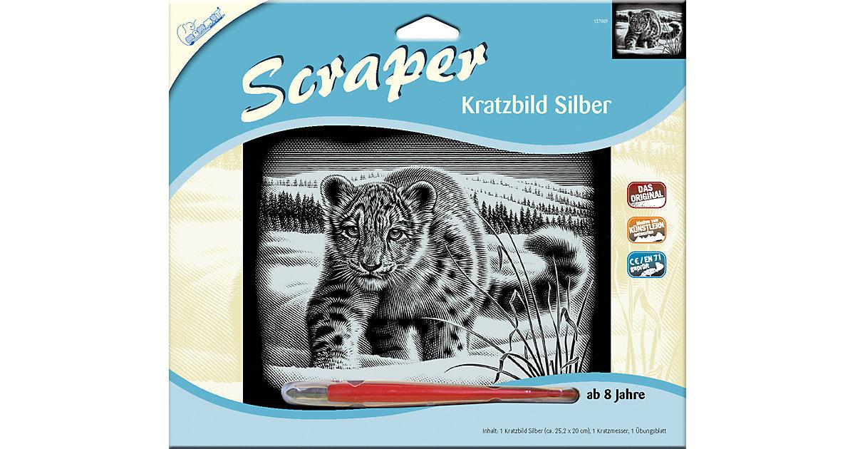 """Scraper Silber groß """"Querformat"""" - Schneeleopard"""