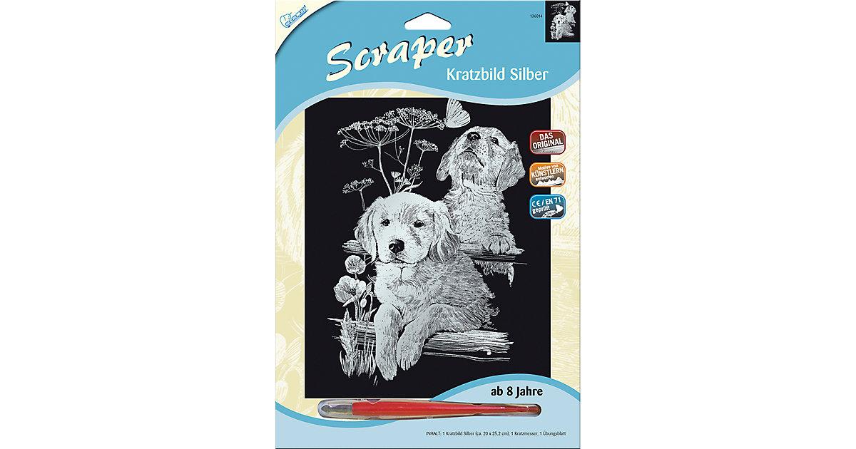 Kratzbild Scraper Labrador, silber