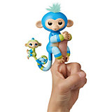 """Интерактивная обезьянка WowWee Fingerlings """"Билли с малышом"""", 12 см"""