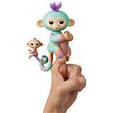 """Интерактивная обезьянка WowWee Fingerlings """"Денни с малышом"""", 12 см"""
