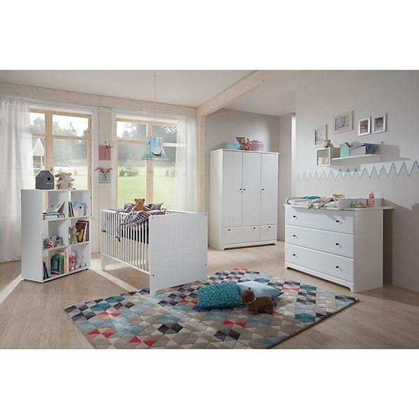 Komplett Kinderzimmer Johan, 3-tlg. (Kinderbett exkl. Umbauseiten,  Wickelkommode und 3-türiger Kleiderschrank), weiß, arthur berndt