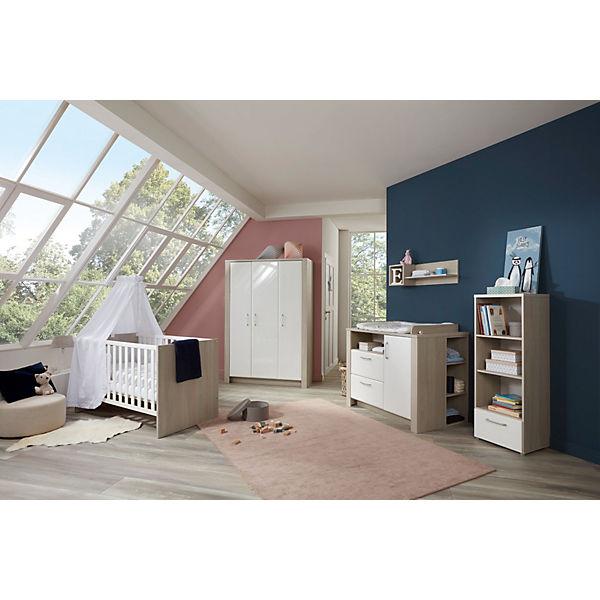 Komplett Kinderzimmer Mario, 3-tlg. (Kinderbett exkl. Umbauseiten,  Wickelkommode und 3-türiger Kleiderschrank), Ulme Silber-Grau /  Hochglanz-Weiß, ...