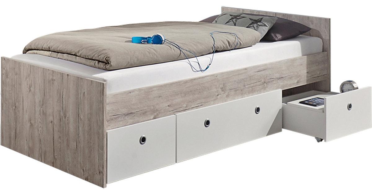Jugendbett Bente mit 3 Rollkästen, 90 x 200 cm, weiß/Eiche Sand