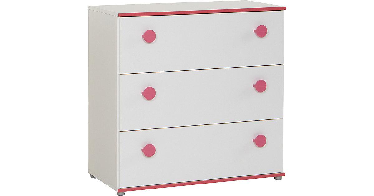 Arthur Berndt · Kommode Mia, 3 Schubladen, weiß mit Kante pinkfarbig