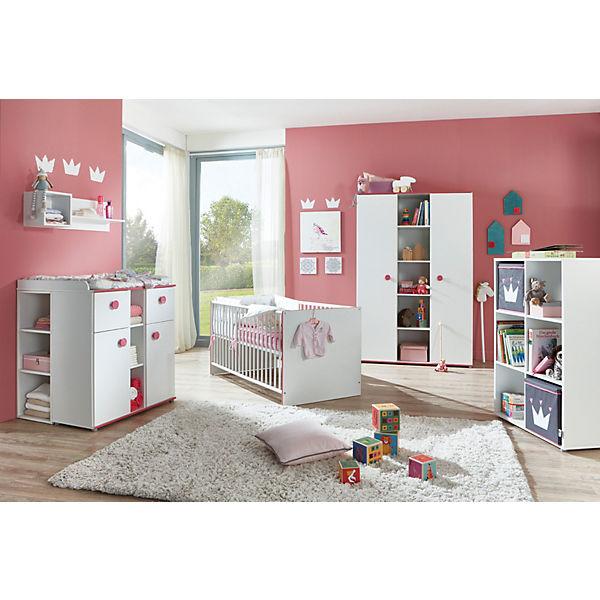 Komplett Kinderzimmer Mia, 3-tlg. (Kinderbett exkl. Umbauseiten,  Wickelkommode und 3-türiger Kleiderschrank), weiß mit Kante pinkfarbig,  arthur berndt