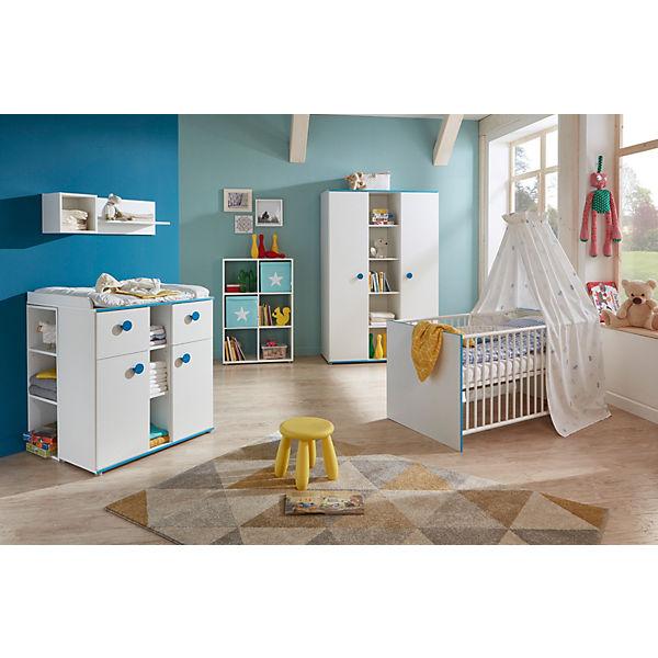 Komplett Kinderzimmer Moritz, 3-tlg. (Kinderbett exkl. Umbauseiten,  Wickelkommode und 3-türiger Kleiderschrank), weiß mit Kante türkis, arthur  ...