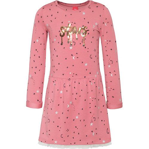 S.Oliver,s.Oliver Kinder Jerseykleid mit Tüllsaum, Sterne Gr. 98 Mädchen Kleinkinder | 04055268617138