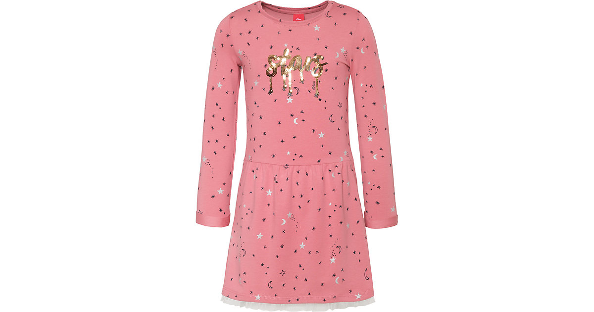 Kinder Jerseykleid mit Tüllsaum, Sterne rosa Gr. 140 Mädchen Kinder