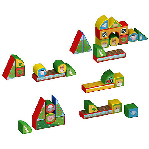 "Пластиковые кубики Magneticus ""Ферма"", 12 кубиков от Magneticus"