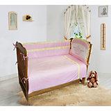 """Комплект постельного белья из 6 предметов Soni Kids """"Лунная прогулка"""" розовый в горошек"""