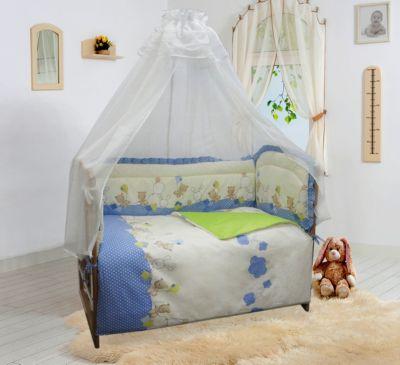 """Бортик в кроватку Soni Kids """"В уютных облачках"""" голубой"""