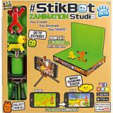 """Анимационная студия Zing """"Stikbot"""" со сценой и питомцем, красный человек, желтый пес"""