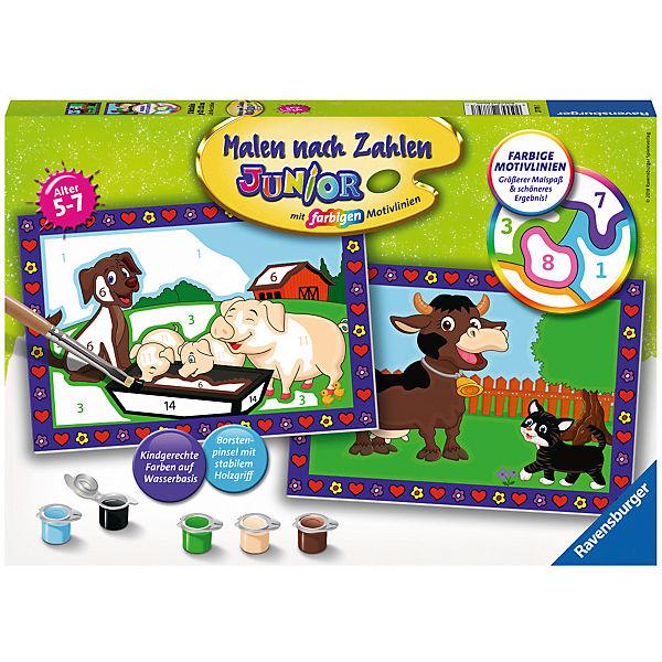 Malen Nach Zahlen Junior 2x Je 32x22 Cm Mit Farbigen Motivlinien Liebe Bauernhoftiere Ravensburger