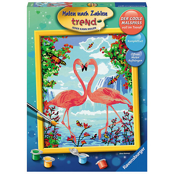 Malen Nach Zahlen Trend 24x30 Cm Mit Bilderfirnis Flamingo Love Ravensburger