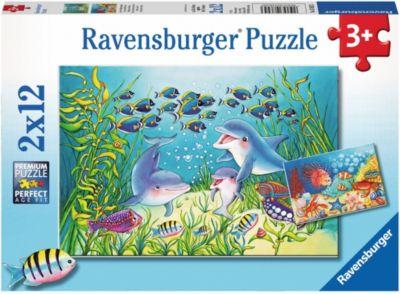 Ravensburger Puzzle Tiere in unserem Garten Puzzles & Geduldspiele 2x12 Teile
