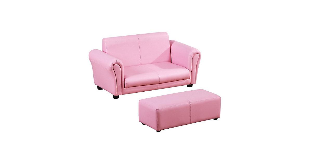 Kindersofa mit Hocker rosa | Kinderzimmer > Kindersessel & Kindersofas | HOMCOM